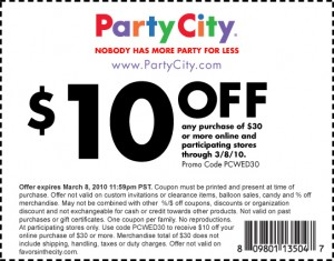 pcwed30 pc coupon 300x235 Party City: High Value $10 Off $30 Printable Coupon