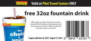 pilottravel 300x136 Free 32oz. Fountain Drink At Pilot Travel  Centers