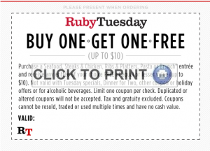 rubytuesBOGO 300x216 Ruby Tuesday: Buy One Get One Free