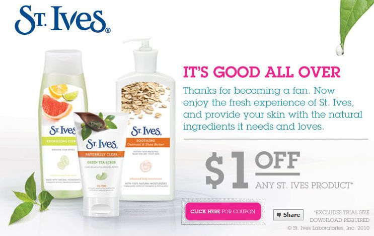 $1 St Ives Coupon New  11 St  Ives coupon on