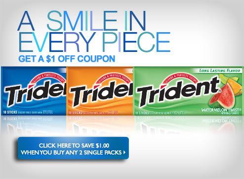 image relating to Trident Coupons Printable identified as Walgreens: Cost-free Trident Gum