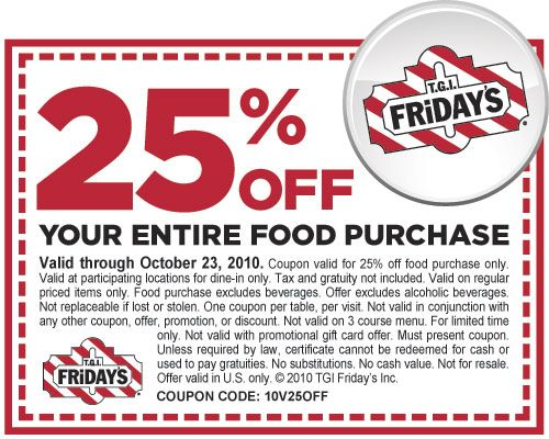 photograph regarding Tgifridays Printable Coupons named T.G.I. Fridays Coupon: 25% Off Total Invest in
