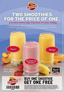27917287441 20101022593139 Denny's: BOGO Free Smoothies Printable Coupon