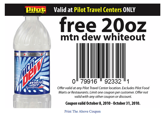 Picture 18 Pilot Travel Centers: Free Mountain Dew White Out