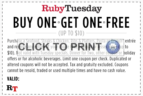 picture regarding Ruby Tuesdays Coupons Printable called Ruby Tuesdays Fresh BOGO No cost Entree