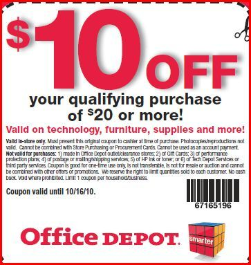 office depot printable coupons office depot high value 10 20 23829