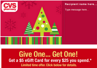 Capture CVS: Get $5 eGift Card for every $25 you spend!