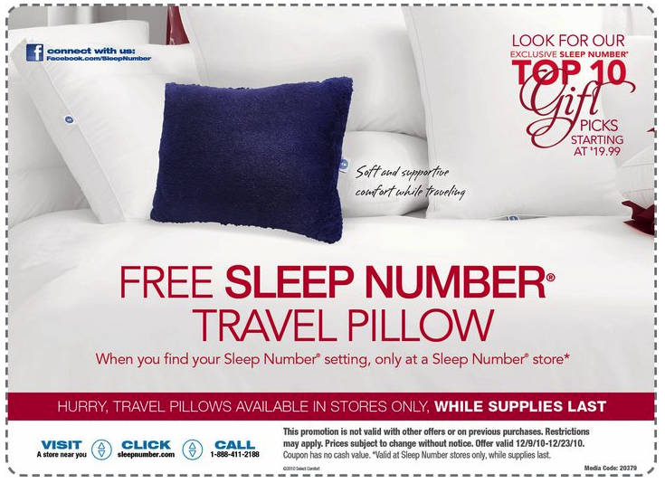 Picture 411 Free Sleep Number Travel Pillow!