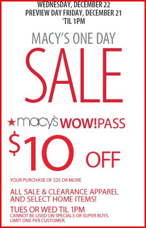 macys1day Macys WOW Pass: $10 Off $25 Coupon