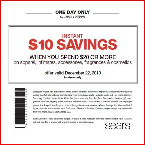 photograph relating to Outback Coupons $10 Off Printable identify Incredibly hot* Sears Coupon: $10 off $20