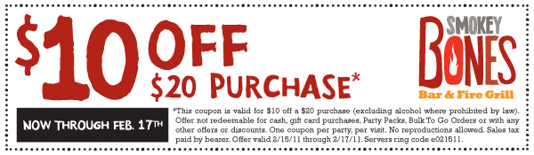 smokey 10OFF20 215COUPON Smokey Bones $10 off $20 purchase