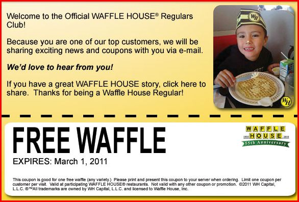 Waffle House Coupons Printable 2011 This Waffle House Coupon