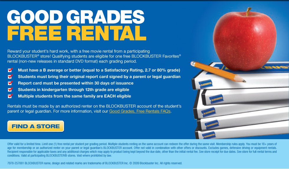 goodGrades Free Blockbuster Favorites Movie Rental for Good Grades   K 12