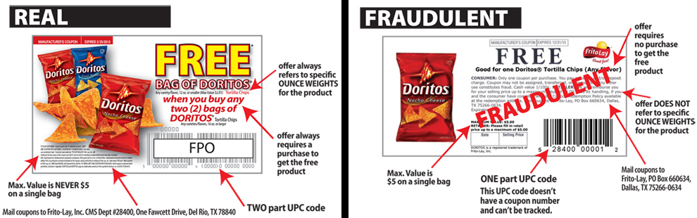 real coupon vs fraud coupon sample Will Couponing Go Away?