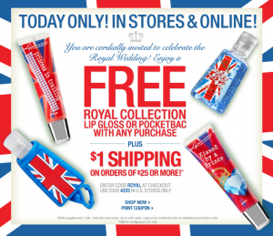 bath and body works 300x259 Bath & Body Works: Free Royal Collection Lip Gloss or Pocketbak with any purchase