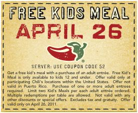chilis kids eat free Chilis   Kids Eat Free