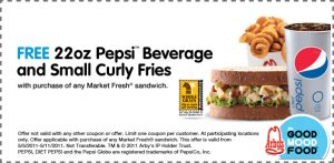 arbyscoupon 300x147 Arbys Coupon: Free Drink & Curly Fries