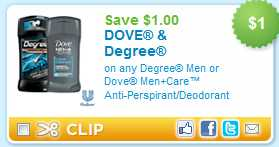 degree coupon Free Dove Men+Care & Degree Deodorant at Walmart & Target!