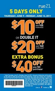 photo about Rue 21 Coupon Printable called Rue 21 Printable Coupon $10 off $20, $20 off $40 or $40