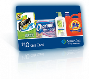 sams club gift card 300x267 Free $10 Sams Club Gift Card When You Purchase $40 Worth of Select P&G Products!