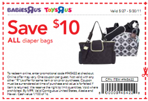 toys r us coupon 300x205 $10 off Diaper Bag Coupon for Toys R Us!