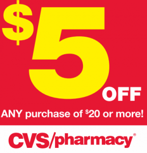 cvs coupon 289x300 HOT $5 off $20 CVS Coupon!