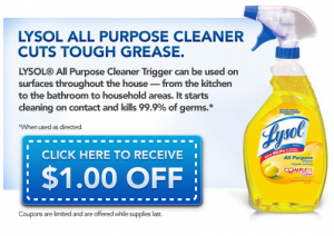lysol facebook coupon 300x212 $1 off Lysol Printable Coupon  (Facebook offer)