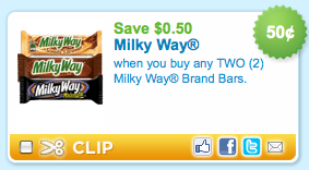 milky way coupon HOT $0.50/2 Milky Way Candy Bar Coupon!!