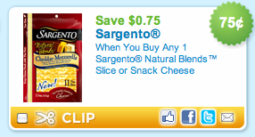 sargento coupon 2 $0.75 off Sargento Natural Blends Slice or Snack Cheese Coupon