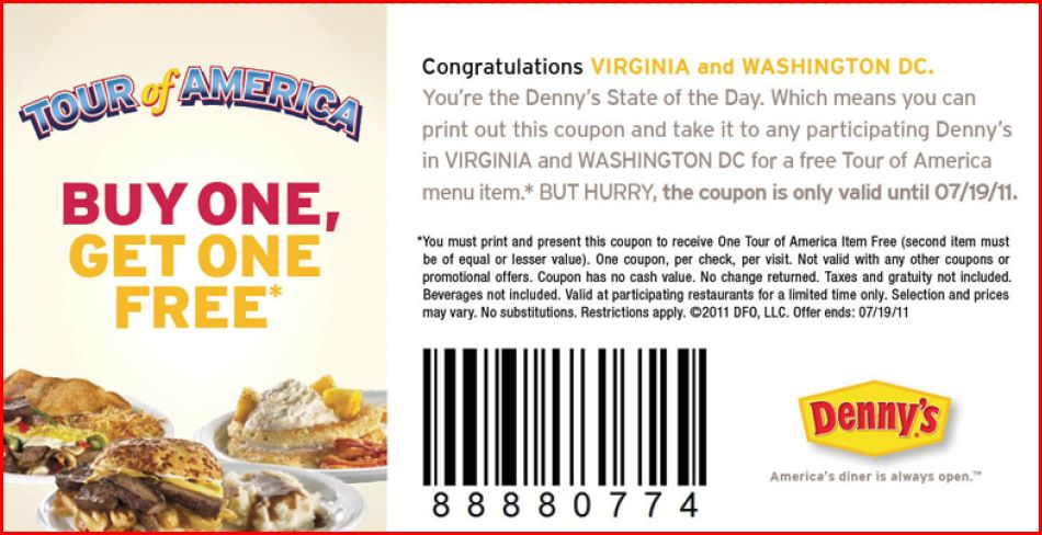 dennys Dennys Tour of America BOGO Coupon