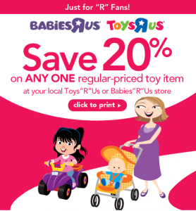 toys r us coupon1 278x300 Toys R Us: 20% off Printable Coupon on 1 Toy