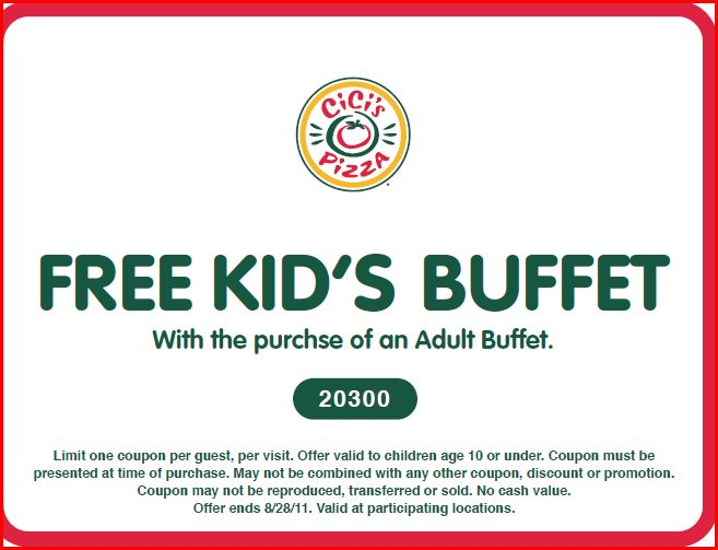 ... Pizza coupon for a Free Kids Buffet with purchase of an adult buffett.
