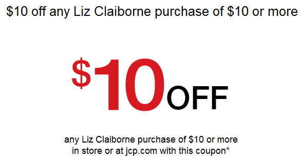 Jc penney 10 off 10 liz claiborne coupon free jewelry wow fandeluxe Gallery