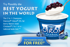 oikos yogurt 300x199 Free Sample of Dannon Oikos Yogurt