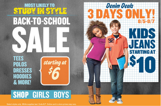 Old Navy Back to School Sale! Boys & Girls Jeans $10