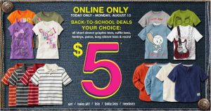 the childrens place 300x158 The Childrens Place $5 Sale + 14% Cash Back!!