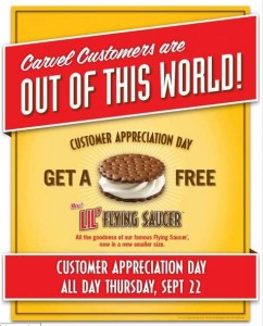 carvel free saucer 242x300 Reminder: Free Lil Flying Saucer Ice Cream at Carvel   Today 9/22 Only!!