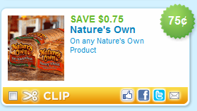 natures own coupon $0.75 off Natures Own Bread Coupon