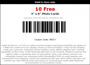 10free 300x218 10 Free 4x8 Photo Cards at Staples