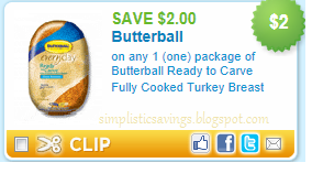 There is a $ off Fresh or Frozen Butterball Whole Turkey coupon you can print!!! Plus there is a $5 rebate you can use with this deal! Thanks FamilyFrugalFun! Mail your completed Rebate form AND either the UPC from the Butterball turkey or a valid register receipt with the date to.