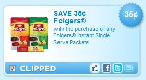 folgers single pack coupon Two New Folgers Coffee Coupons = only $0.65 at Walmart!