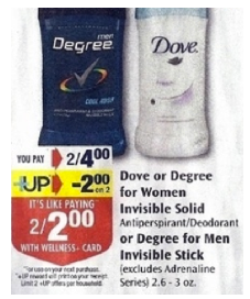 doverite 2 Free Dove Deodorants at Rite Aid