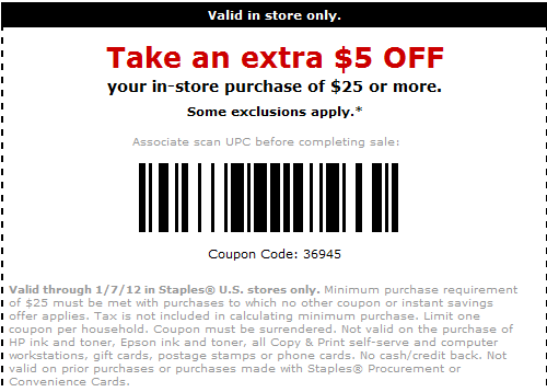 image relating to Staples Printable Coupon known as Staples Coupon: $5 off $25