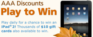 AAA Instant Win Sweepstakes AAA Instant Win Sweepstakes: Prizes Include 36 iPad2s and 2,036 $10 Gift Cards