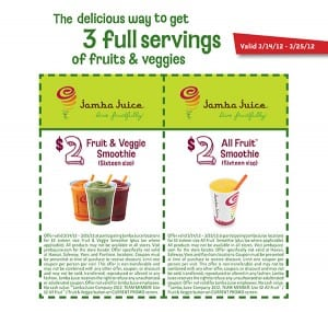 Jamba Fruit Veggie Smoothie 300x285 Jamba Juice: Two $2 off Coupons