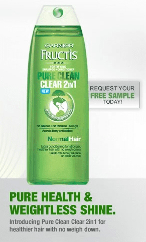 garnier fru Free Sample Garnier Pure Clean Clear 2 in1 Shampoo