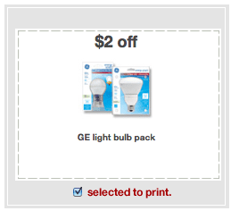 GE Light Bulb 2 off coupon $2 off GE Light Bulbs Makes a 4 Pack Just 39¢ at Target!