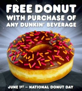 dunkin donuts2 272x300 National Donut Day = Free Donut at Dunkin Donuts