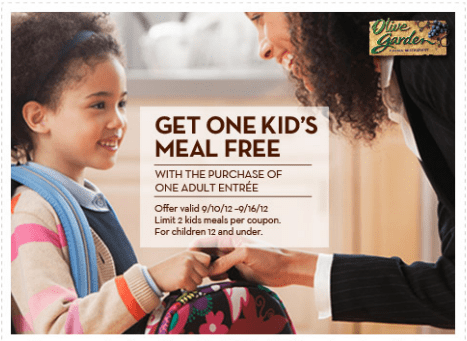 olive garden kids coupon Olive Garden Coupon   Kids Eat Free!!