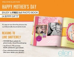 shutterfly ellen 300x233 Shutterfly: FREE Hardcover Photo Book   $29.99 value (Just Pay Shipping)